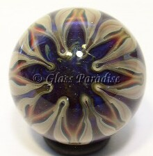 Star Flower Contemporary Art Glass Marble by Anton Bodor 23mm