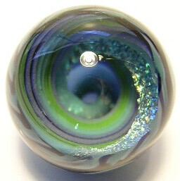 Dichroic Vortex Art Glass Marble by Mark Black 31mm