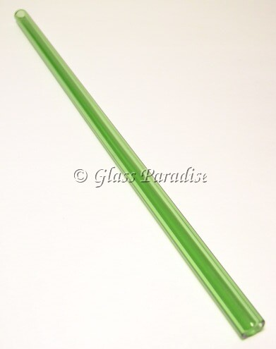 Handmade Emerald Green Glass Drinking Straw by Glass Paradise