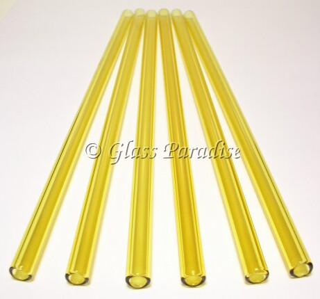 Set of Handmade Amber Citron Glass Drinking Straws by Glass Paradise