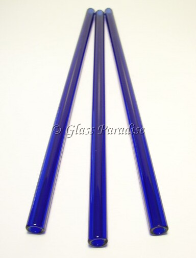 Three Handmade Cobalt Blue Glass Drinking Straws by Glass Paradise
