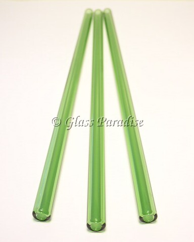 Three Handmade Emerald Green Glass Drinking Straws by Glass Paradise