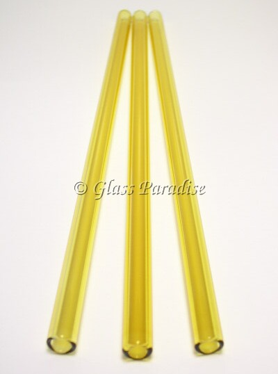 Three Handmade Amber Citron Glass Drinking Straws by Glass Paradise