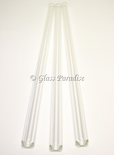 Three Clear Pyrex Glass Drinking Straws by Glass Paradise