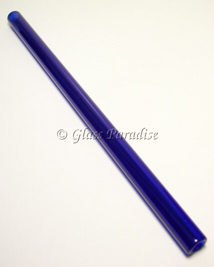 Smoothie Handmade Cobalt Blue Glass Drinking Straw by Glass Paradise