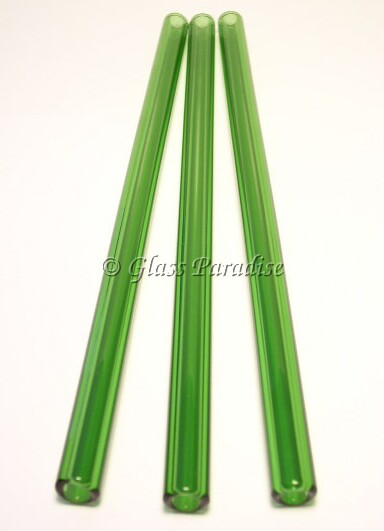 Smoothie Set of Handmade Emerald Green Glass Drinking Straws by Glass Paradise