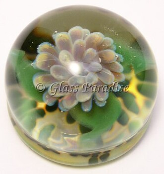Art Glass Flower Implosion Papaeweight by Mark Black 46mm