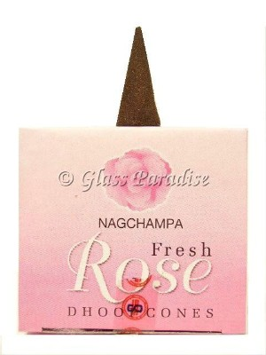 12-pack Nag Champa Fresh Rose Temple Incense Dhoop Cones