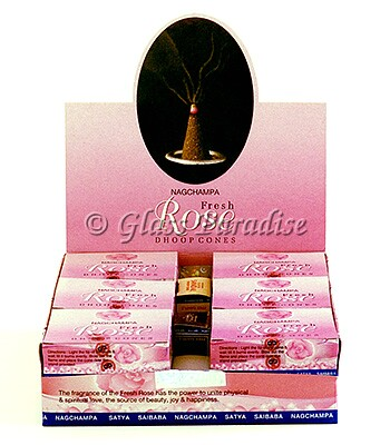 144 - Nag Champa Fresh Rose Temple Incense Dhoop Cones