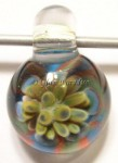 Flower Implosion Lampwork Glass Focal Pendant #1
