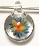 Flower Implosion Lampwork Glass Focal Pendant