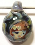 Anime Girl Lampwork Art Glass Focal Pendant by Mark Black