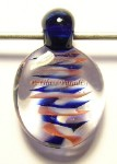 Lampwork Red White and Blue Filigree Glass Pendant by Mark Black