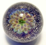 Indigo Lotus Art Glass Marble by Mark Black 31mm