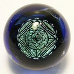 Yin Yang Mandala Dichroic Glass Marble by Mark Black 28mm