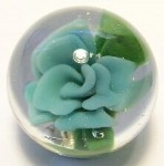 Blue Flower Implosion Art Glass Marble by Mark Black 26mm