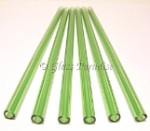 Set of Handmade Emerald Green Glass Drinking Straws by Glass Paradise