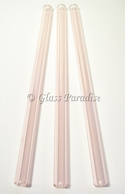 Three Handmade Pink Glass Drinking Straws by Glass Paradise