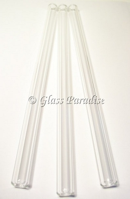 Smoothie Set of Handmade Clear Glass Drinking Straws by Glass Paradise