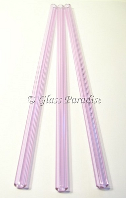 Three Handmade Lavender Glass Drinking Straws by Glass Paradise