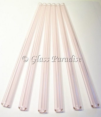 Set of Handmade Pink Glass Drinking Straws by Glass Paradise