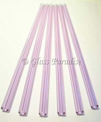 Set of Handmade Lavender Glass Drinking Straws by Glass Paradise